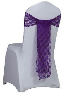 New Cadbury Purple Lace Chair Sashes Bows Wedding Banquet Cover Free Ship Ebay
