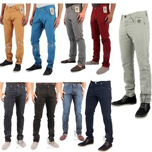 Men-039-s-Enzo-Designer-Slim-Fit-Chinos-Coloured-Skinny-Trousers-Straight-Jeans-Pant