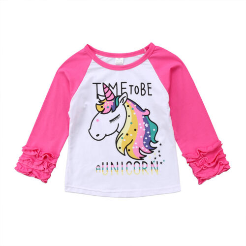 Toddler Baby Girl Kid Cotton Unicorn Top Blouse Ruffle Sleeve T-shirts Tees 2-7Y