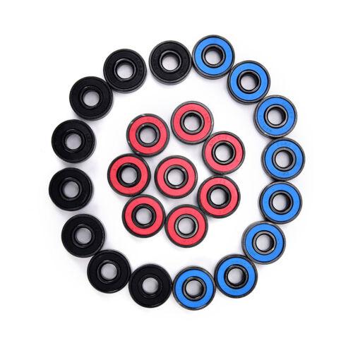 8Pcs//Set 608RS Skate Skateboard Steel Integrated Spacer Bearings Fit qV