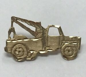 New Real Solid 14K Gold Cut Out Tow Truck Charm
