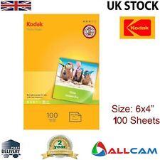 """100 hojas de papel fotográfico brillante Kodak 6x4"""" 180gsm Para Todas Las Impresoras Inket, al por menor"""