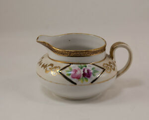 Nippon-Hand-painted-Creamer-Pink-Roses-Gold-Accents-Mark-Green-M-in-Wreath