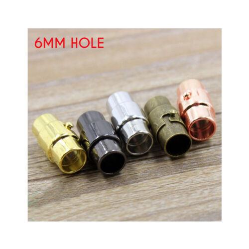 6 MM trou magnétique verrouillage Bijoux Baril Fermoir Pour Bracelet Collier Fin Cap