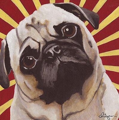 """PUG DOG FINE ART PRINT - """"Puggins"""" - Carlin - Mops Hund - Rising Sun"""