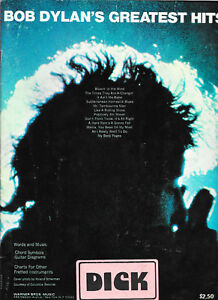 SONG-BOOK-SHEET-MUSIC-BOB-DYLAN-039-S-GREATEST-HITS-TAMBOURINE-MAN-BLOWIN-039-IN-WIND