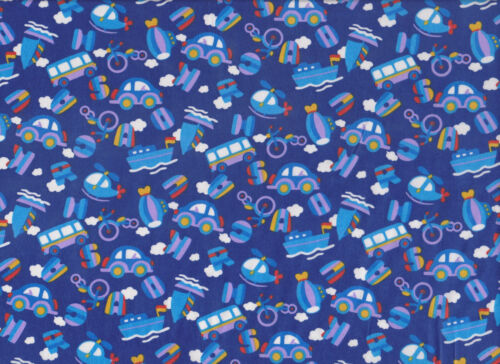 Navy Blue Cars and Boats Polycotton Fabric