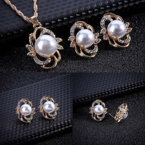 Women Pearl Crystal Rhinestone Necklace Earring Wedding Party Bridal Jewelry Set