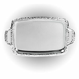 Silver-Effect-Serving-Tray-Platter-Mirror-Polished-Table-Metal-Dinner-Dish-Plate