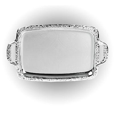 Energico Effetto Argento Vassoio Piatto Specchio Lucidato Tavolo Metallo Cena Piatto Piastra-mostra Il Titolo Originale