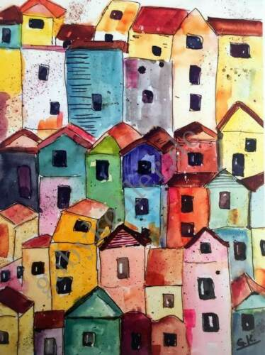 "Aquarell-Kunstdruck /""Häuser/""von Gaby Köhler bunt,Malerei,Stadt,Meer,Rot,Gelb"