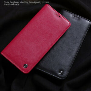Soft-Flip-Genuine-Leather-Slim-Back-Skin-Business-Case-For-Samsung-S10-S9-S8