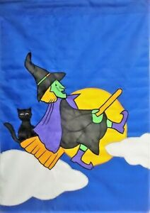 Witch-on-Broom-Standard-House-Flag-by-CBK-7923-Halloween