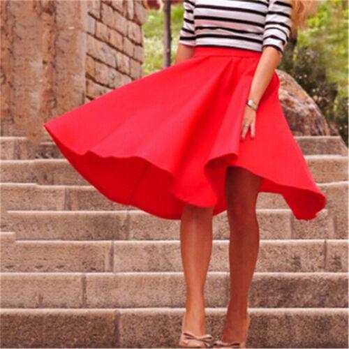 Vintage Women Stretch High Waist Skater Flared Pleated Swing Long Skirt Dress UK
