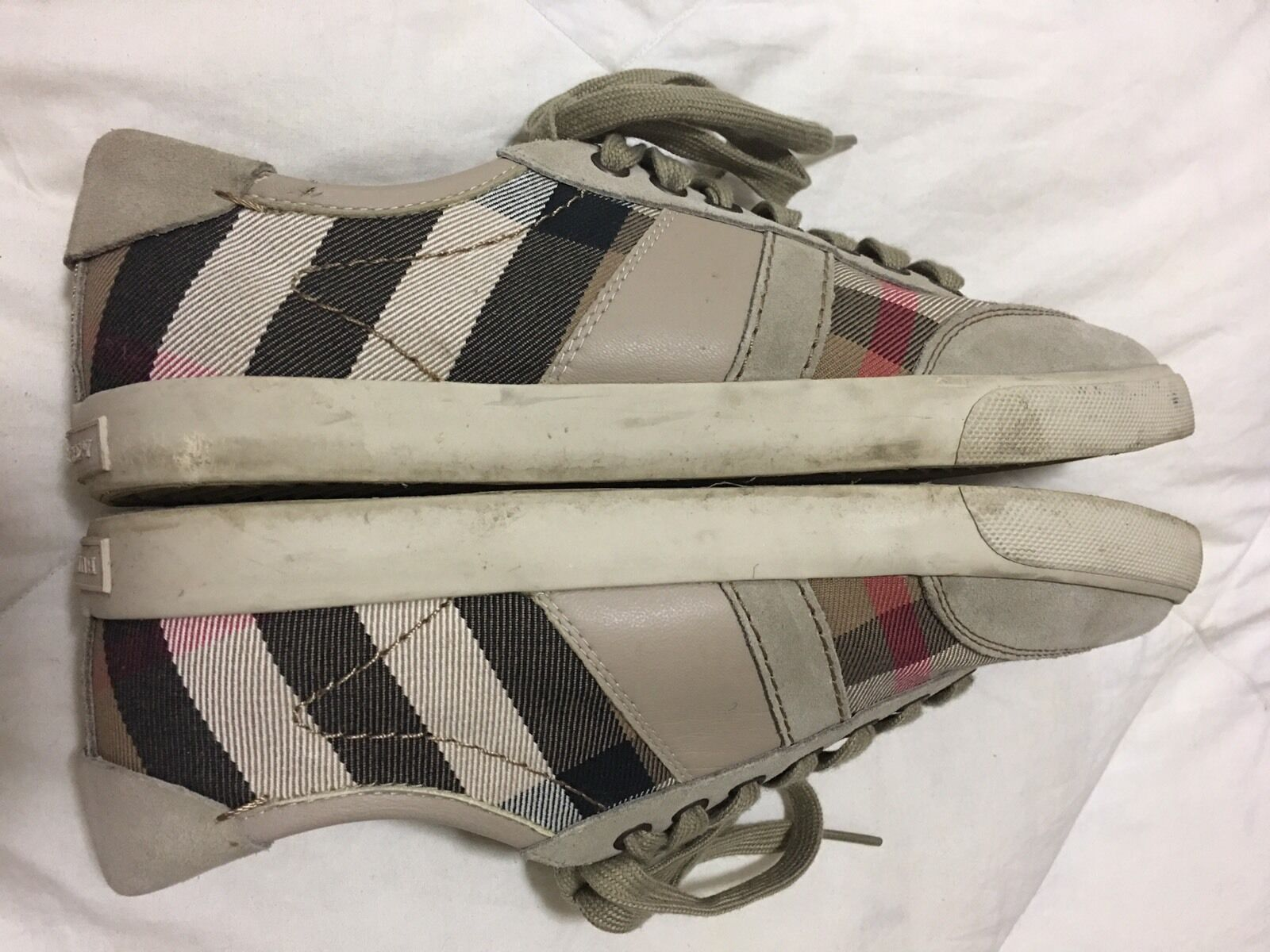 Burberry Burberry Burberry Nova Check Pattern Beige Canvas Suede Casual Low Top Sneakers shoes 41 48aba2