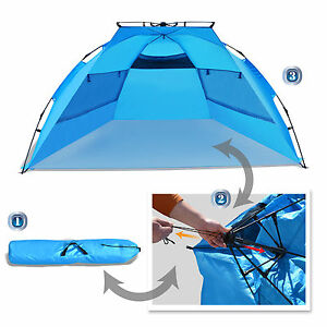 ... Easy-Up-Pop-up-Instant-Beach-Tent-Canopy-  sc 1 st  eBay & Easy Up Pop up Instant Beach Tent Canopy Shelter Blue Large | eBay
