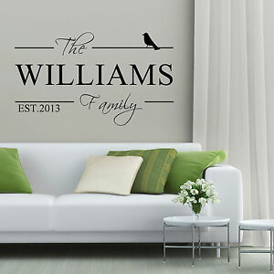 Personalised Family Name Vinyl Art Wall Sticker Decal Home Custom ...