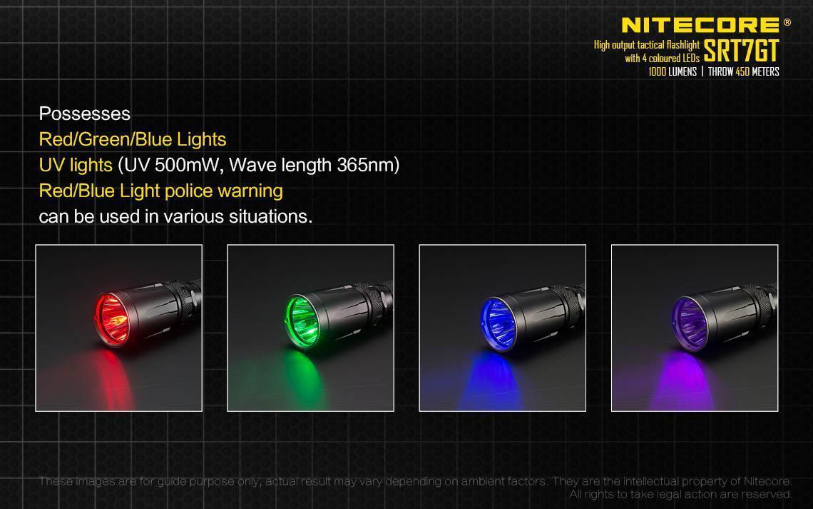 Nitecore Rojo/Azul/Verde/UV SRT7GT 1000 Lumen Multi-Color Rojo/Azul/Verde/UV Nitecore Linterna táctica 9356c5