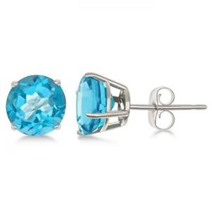 Details About 1 Ct Round Cut Swiss Blue Topaz Earrings Solid 14k White Gold Stud