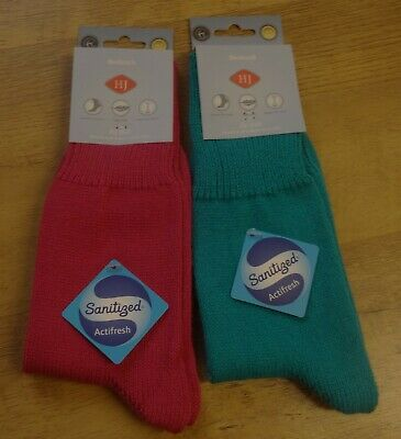 100% Wahr H J Hall Ladies Pack Of Two Pink And Blue Bedsocks Super Soft Size 4-7 New