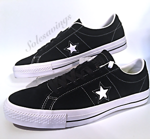 83769cc49fa074 Converse One Star Suede Ox Men s Black Suede White Skate Sneaker ...