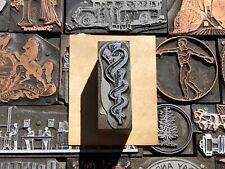 Antique Vtg Serpent Snake On Staff Letterpress Print Type Cut Ornament Block
