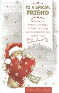 Special FRIEND ~ FABULOUS  EX-LARGE CHRISTMAS CARD - 8 PAGE INSERT Female Bear