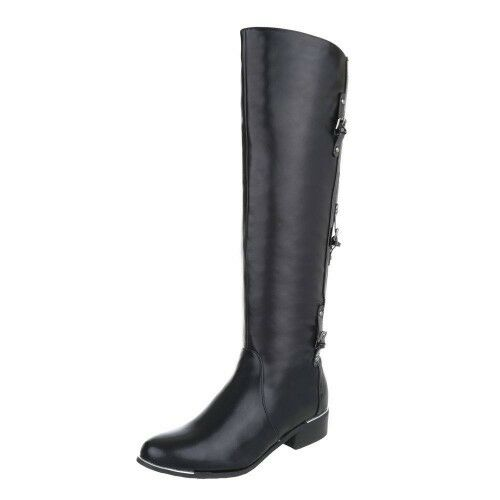 WOMENS LADIES REGENCY KNEE HIGH PU LEATHER RIDING STYLE BOOTS WITH TRIM ON HEEL