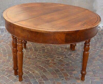 ANTICO TAVOLO ROTONDO legno NOCE allungabile INTARSIATO epoca 800 ...