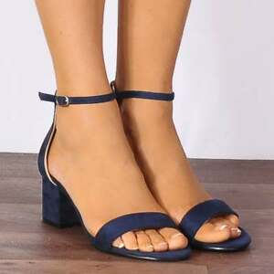 75887bb00dc NAVY BLUE LOW BLOCK HEELED ANKLE STRAP BARELY THERE STRAPPY SANDALS ...