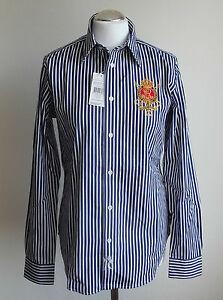 RALPH-LAUREN-JANICE-CREST-Damen-Bluse-stripe-navy-Gr-8-10-12-14-38-40-42-44-Neu