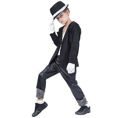 Kinder # Superstar Promi Michael Jackson Kostüm Schwarz Alle Größen