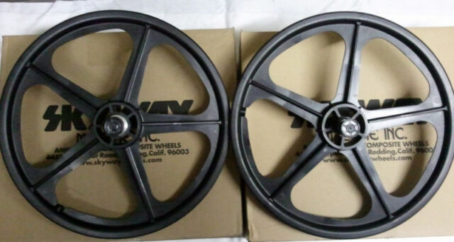 "BMX BLACK Skyway Tuff II Wheel 2 Mag WHEELSET Black 20"" Freewheel WHEEL SET"