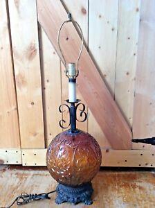 Vtg-Mid-Century-Amber-Glass-Globe-Table-Lamp-light-mcm-retro-modern-Eames-era-2