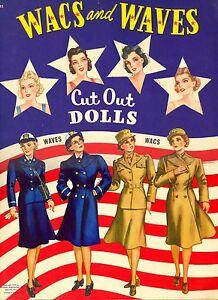 VINTAGE UNCUT 1943 WACS N WAVES PAPER DOLL ~WHITMAN ORIG SIZE~LASR REPRODUCTION