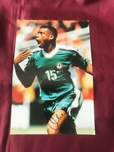 Autogramm-SUNDAY-OLISEH-Nationalteam-NIGERIA-Grossfoto-handsigniert-Ajax-BVB-Koeln