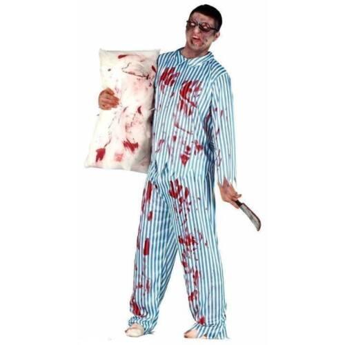 Adult Zombie Blood Spattered Pyjamas Halloween Fancy Dress Mens Costume