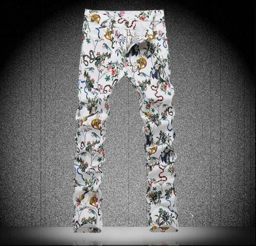 Fall Mens Stretch Trousers Printed Floral Slim Fit Jean Cotton Pencil Pants 2018