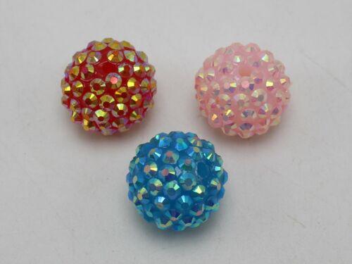 20 Pcs Acrylic Rhinestone Gems Pave DISCO Ball Beads 18mm Spacer Jewelry Making