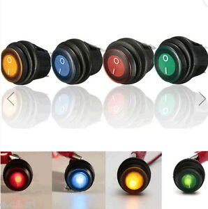 SPST-12v-12a-LED-interruttore-bilanciere-illuminato-impermeabile-GIALLO