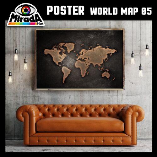 POSTER MAPPA MONDO WORLD MAP 05 CARTA FOTOGRAFICA QUALITA/' 35x50 50x70 70x100