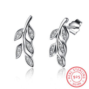 Genuine-925-Sterling-Silver-Crystal-Olive-Branch-Fashion-Stud-Earrings-Jewelry