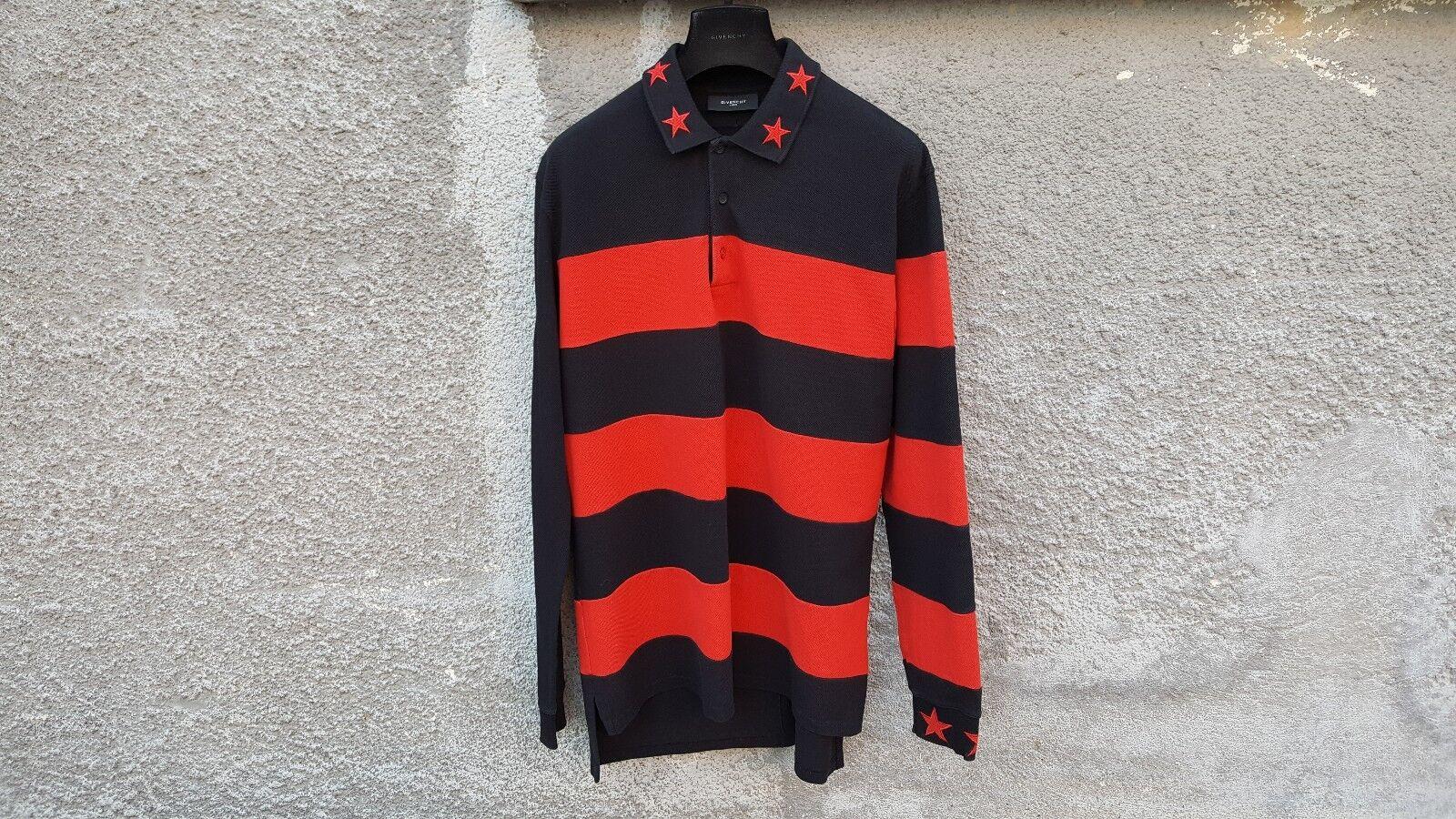 Givenchy Striped Star Embroiderot Rottweiler OverGrößed Polo hemd Größe M (L XL)