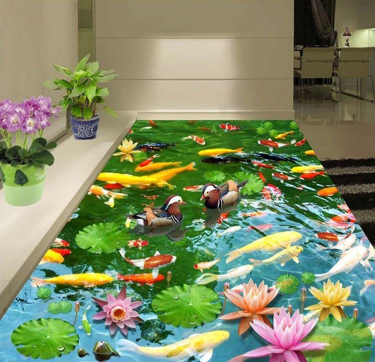 3D fish flower water 506 Floor WallPaper Murals Wall Print Decal 5D AJ WALLPAPER