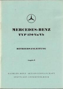 MERCEDES-Typ-170-Va-Vb-Betriebsanleitung-1956-Bedienungsanleitung-Handbuch-BA