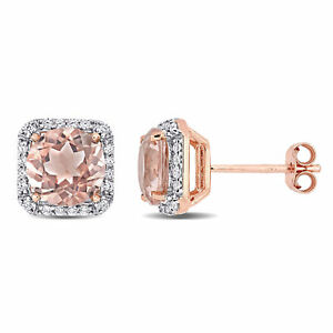 Amour Rose Plated Silver Cubic Zirconia & Simulated Morganite Halo Stud Earrings