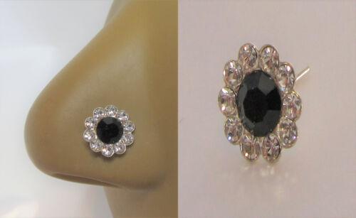 Sterling Silver Loaded Black Clear Gem Nose Bent L Shape Stud Pin Post 20 gauge