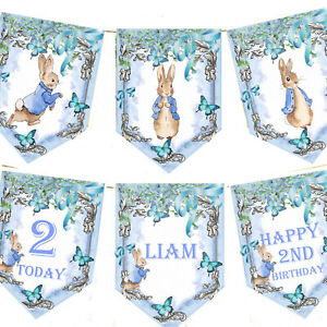 Personalised-Peter-Rabbit-Bunting-1st-2nd-5th-Any-Age-Birthday-Kids-Party-Blue