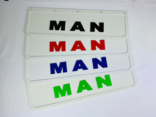 Mud Flaps Truck Lorry MAN 18x60cm Embossed White with Red Logo