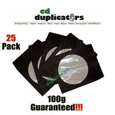 25 Black CD DVD Paper Sleeves 100g Premium Quality W/ Window & Flap